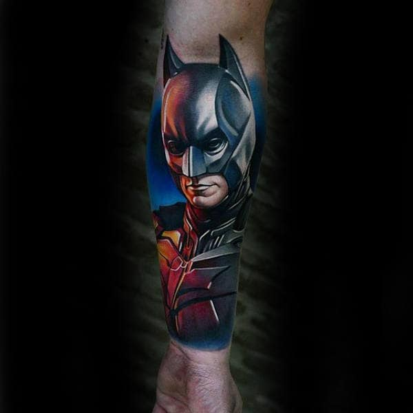 Man With Inner Forearm Batman Tattoo