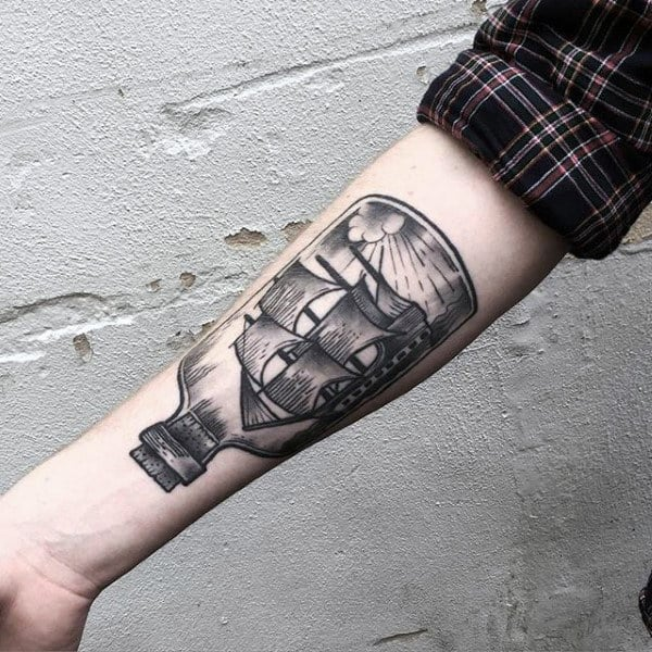 Man With Insane Ship In A Bottle Forearm Tattoo