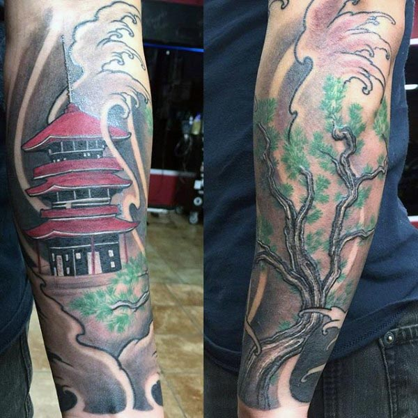 Man With Japanese Bonsai Tree Forearm Sleeve Tattoo Design