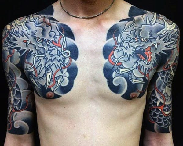 Man With Japanese Dragons Chest Tattoo