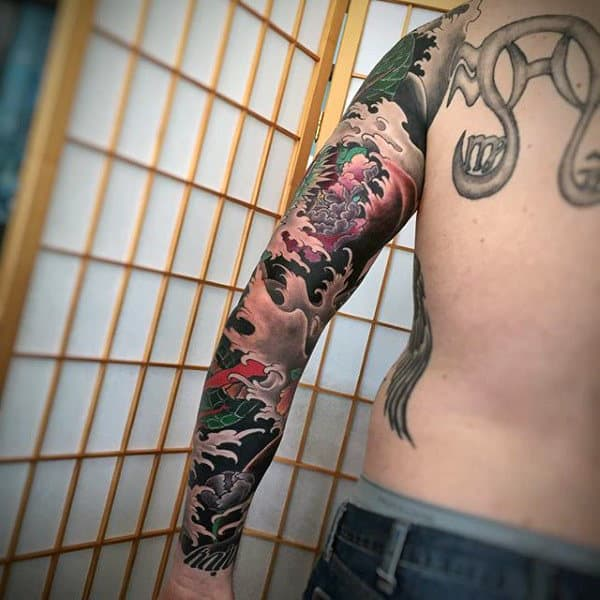 Man With Japanese Sleeve Tattoo