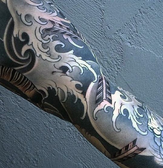 Man With Japanese Water Tattoo Sleeve Design