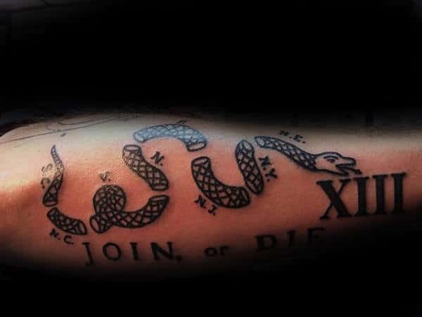 Man With Join Or Die Outer Forearm Black Ink Tattoo Design