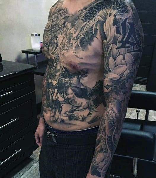 Man With Koi Fish Sleeve And Chest Tattoos