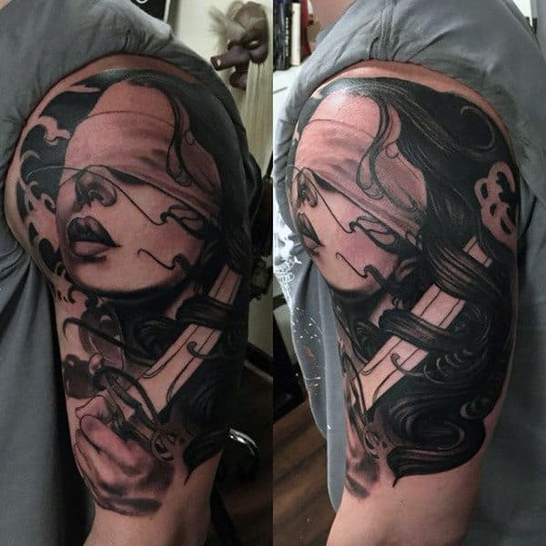 Man With Lady Justice Half Sleeve Tattoo