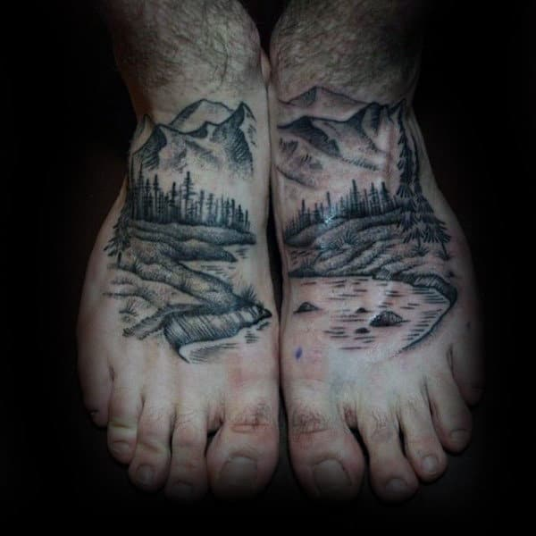 Man With Landscape Tattoos On Both Feet