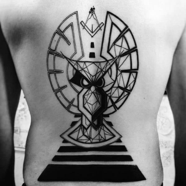 Man With Large Geometric Owl Full Back Tattoo