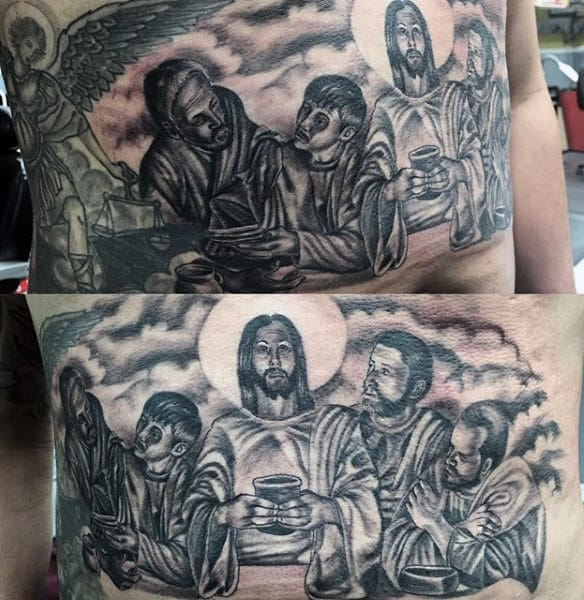 Man With Last Supper Cloud Holy Tattoo Design