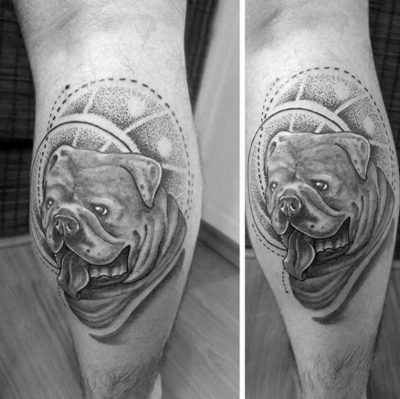 Man With Leg Calf Bulldog Tattoo Design