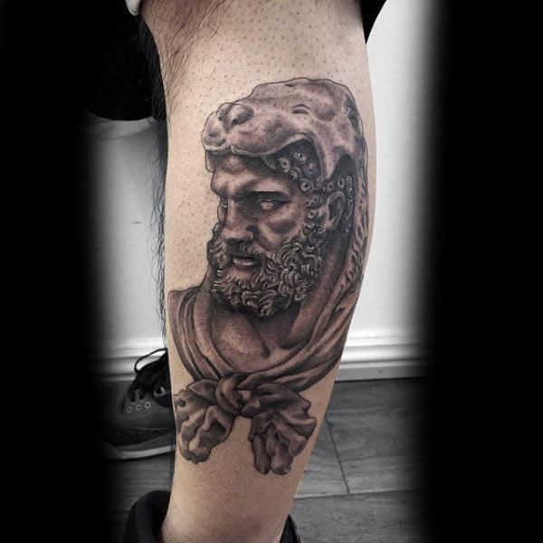 Man With Leg Calf Tattoo Design Of Hercules