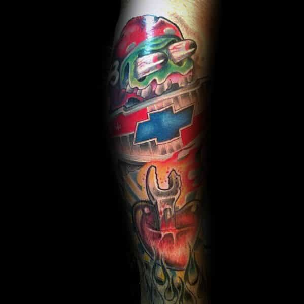 Man With Leg Sleeve Chevy Themed Tattoo Design