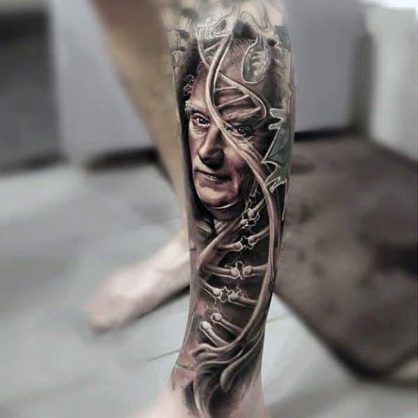 Man With Leg Sleeve Of Dna Strand With Skeleton Bones Design