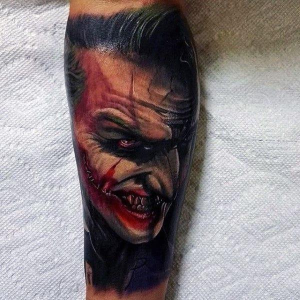 Man With Leg Sleeve Tattoo Of 3d Joker