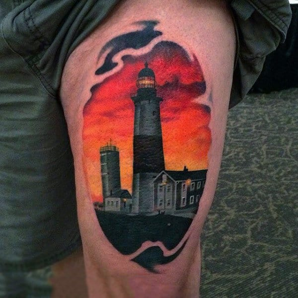 Man With Lighthouse Sunset Tattoo In Dramatic Style On Thigh
