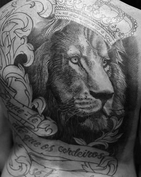 Man With Lion Crown And Banner Back Tattoo Design