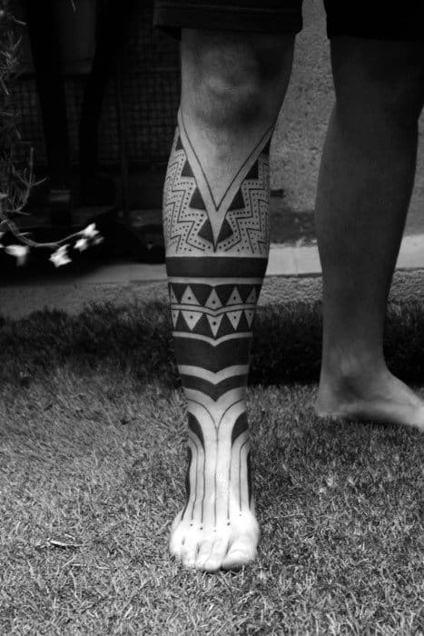 Man With Lower Leg Lines Blackwork Tattoo
