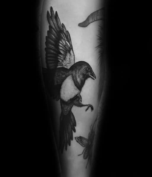 Man With Magpie Tattoo Design
