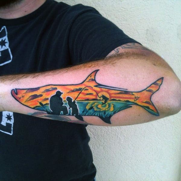 Man With Man And Boy Sunset Fishing Surrounded By Shark Forearm Tattoo