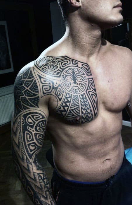Man With Maori Tribal Tattoo Full Sleeve