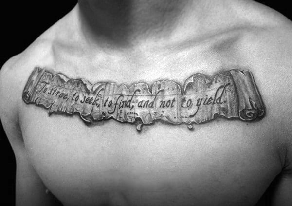 Man With Map Scroll Quote Upper Chest Tattoos