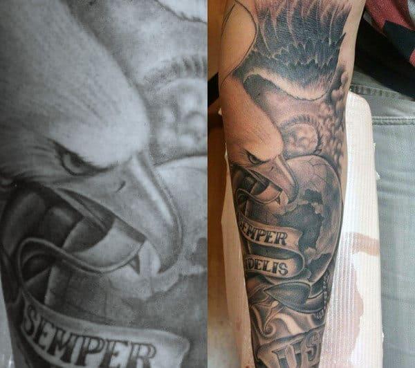 Man With Marine Eagle Sleeve Tattoo