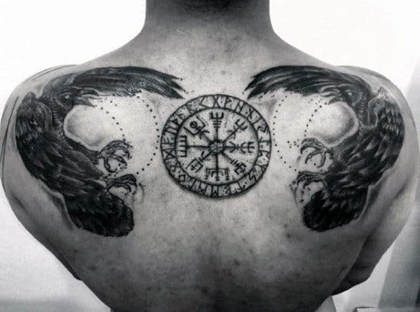 Man With Masculine Viking Compass Black Crow Birds Upper Back Tattoo