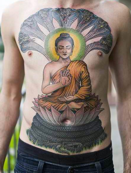 Man With Mediating Buddha And Snake Tattoo On Front