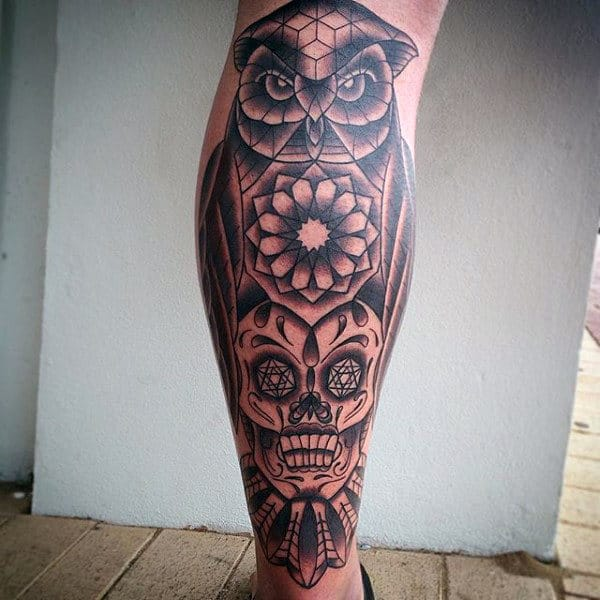 Man With Mexican Sugar Skull Tattoos Leg Sleeve