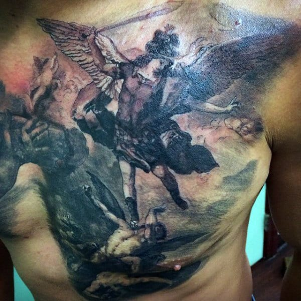 Man With Micheal Archangel Tattoos On Chest
