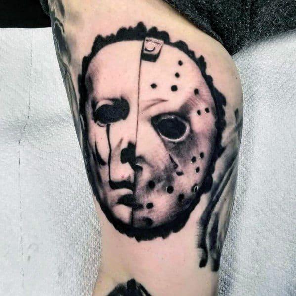 Man With Michael Myers Jason Mask Tattoo Design