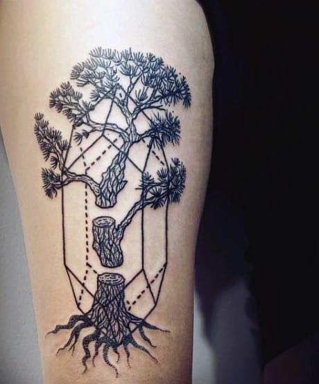 Man With Modern Pine Tree Tattoo
