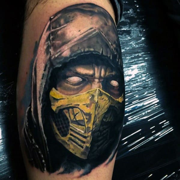 Man With Mortal Kombat Watercolor Tattoo Of Scorpion On Leg Calfs