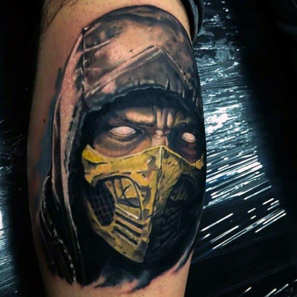Man With Mortal Kombat Watercolor Tattoo Of Scorpion On Leg Calfs