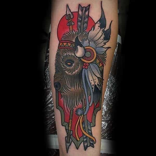 Man With Native American Indian Bison Inner Forearm Tattoo