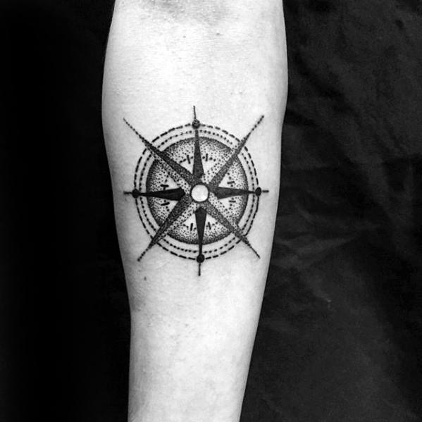 5a943c056 Man With Nautical Star Small Manly Inner Forearm Tattoo Design