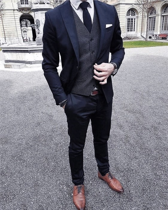 Man With Navy Blue Suit Brown Shoes Fashionable Style Look