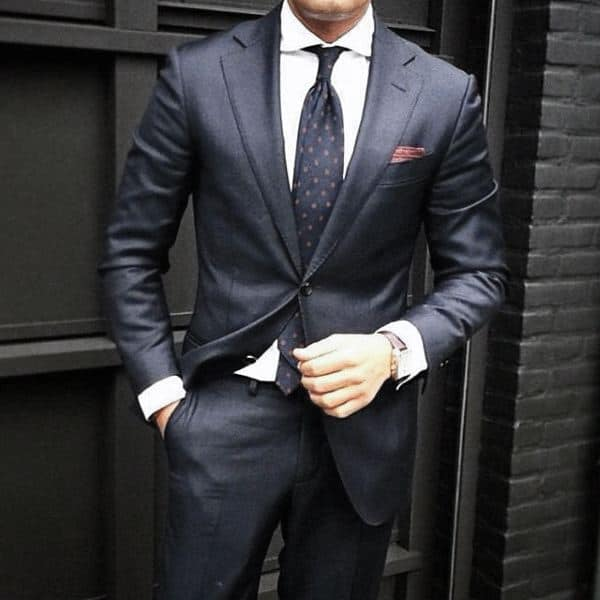 Man With Navy Blue Suit Fashionable Style Look