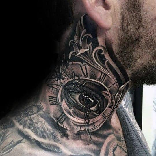 Man With Neck Tattoo Of Eye And Roman Numerals With Decorative Design