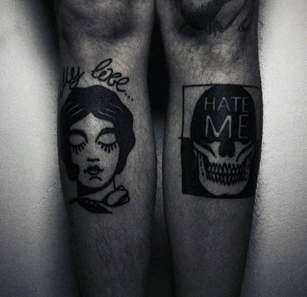 Man With Negative Space Tattoo Style On Both Upper Legs
