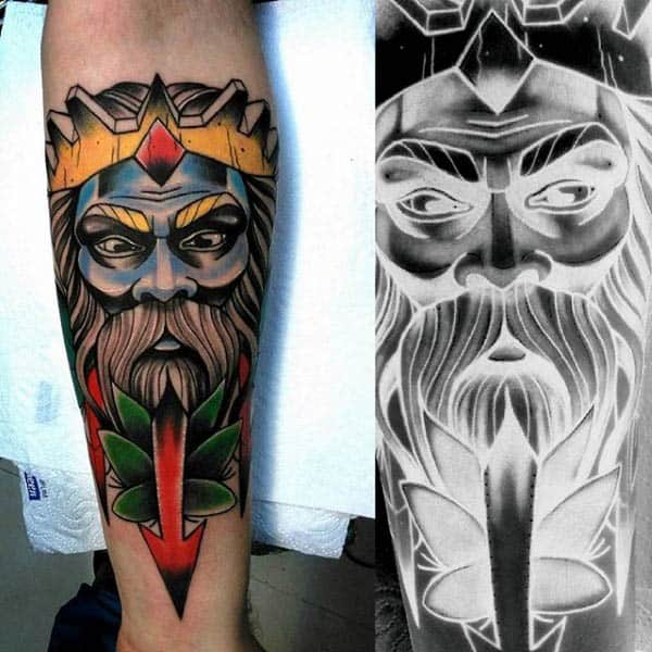 Man With Neo Traditional Beast Man Tattoo On Forearm