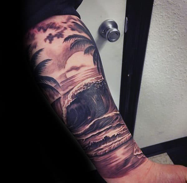 Man With Ocean Waves Realistic Amazing Forearm Sleeve Tattoo