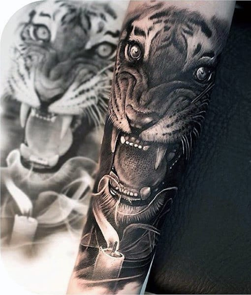 Man With Old School Tiger Tattoo