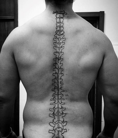 Man With Outline Bones Spine Tattoo