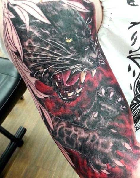Man With Panther Tattoo Sleeve In Red Ink