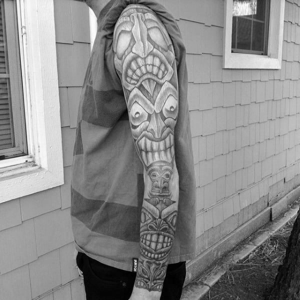 Man With Pencil Shaded Style Full Sleeve Totem Pole Tattoo