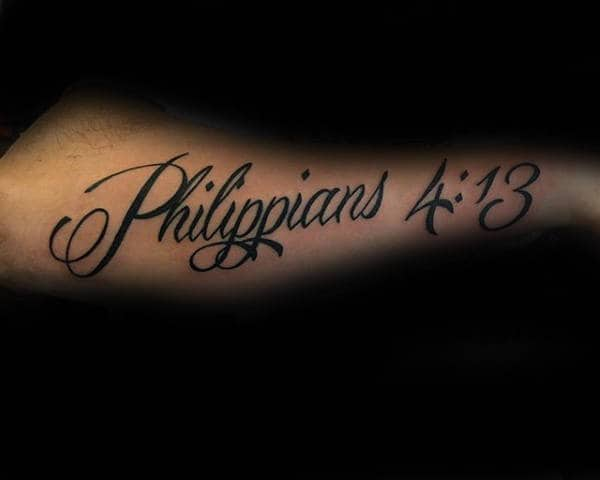 Man With Philippians 4 13 Black Ink Lettering Arm Tattoo Design