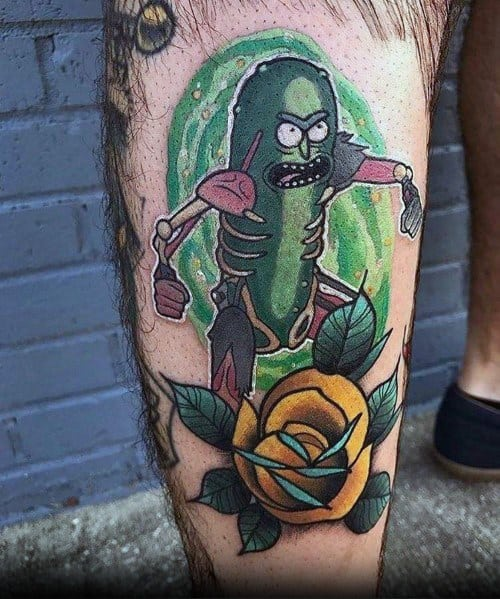Man With Pickle Rick Tattoo Design