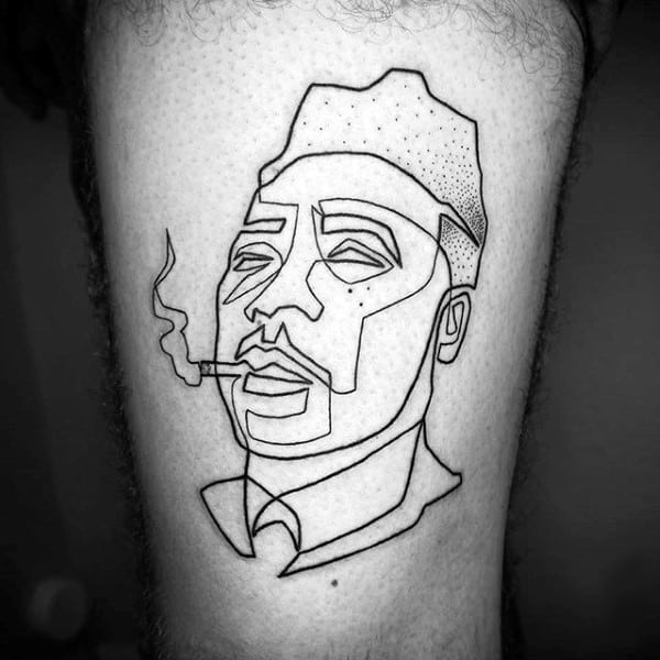 Man With Pipe Single Mens Line Tattoo