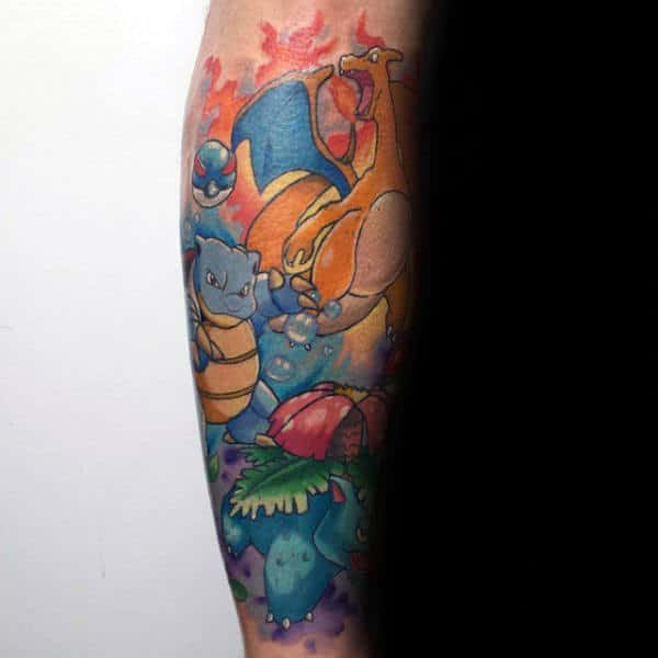 Man With Pokemon Character Themed Forearm Tattoo