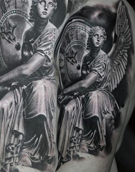 Man With Pretty Guardian Angle And Roman Numeral Clock Tattoo On Arms